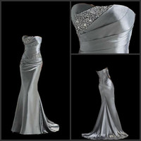 Beads silver wedding dresses - 2015 Silver Bridesmaid Dresses Fahion Strapless Brush Train Beaded Silvery Maid of Honor Dresses Bridal Wedding Party Evening Prom Dresses