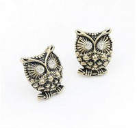 Unisex Party Alloy 24pairs Vintage Gold Owl Studs Earrings Jewelry Diamond Stud Earring For Women