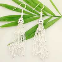 Wholesale very nice pairs sterling silver earrings with silver chain women s silver earring SSE