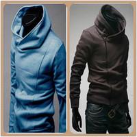 Wholesale NEW Mens Slim Fit Oblique Zipper Jackets Stand up Collar Hoodie Coats M L XL XXL