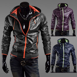 Wholesale Mens Slim Fit Zipper Thin Jackets Stand up Faux Leather Hoodie Coats Color M L XL XXL