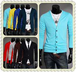 Wholesale Men s Slim Fit V neck Long Sleeves Knitwear Sweaters Cardigan colors size