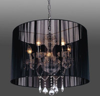 Wholesale Modern Black Fabric Crystal Pendent Light K9 Crystal Chandelier Living Room Bedroom Lamp Dia cm