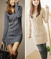 Wholesale Fashion Pullover Solid Sweater Dresses For Women Ladies Girls V Neck Knitwears Autumn Winter Over Hip Gray Green Beige Black