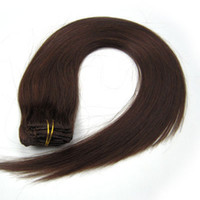 Wholesale 1sets quot quot set Indian remy Clip in hair Human Hair Extensions Medium Brown mix