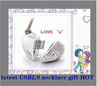 Wholesale 8G Special USB2 the Diamond Mini Crystal heart shaped U disk fashion girls gift whol