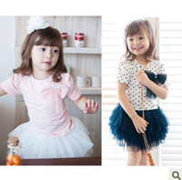 Wholesale Girl s Bow Love Pattern Printed T shirt Yarn Tutu Skirt Pieces Set Children s Autumn Pretty Outfit