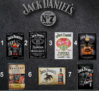 Wholesale HOT SALE JACK DANIEL Vintage Metal Tin Sign Decor home bar cafe wall decoration Assorted Styles