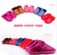 Wholesale Autumn winter couple warm thick bottom men and women plush upset household home slippers