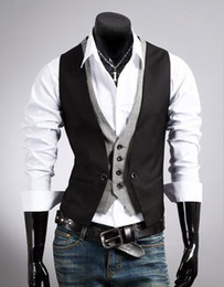 Wholesale Winter New Men s Fashion Black plaid leave two Men Vest
