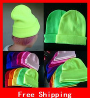 Wholesale New Designer Fashion Fluorescent Colors Winter Hats For Women Knitted Winter Hat For Men Neon Cap