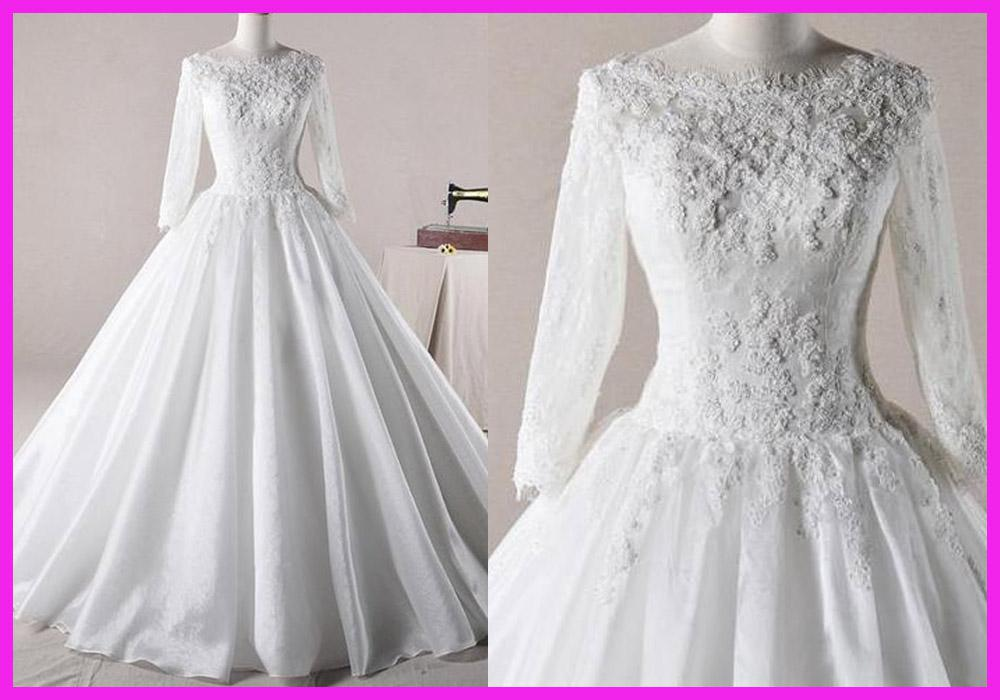 Ball Gown Beaded Lace Long Sleeve Floor Length Winter Wedding Dresses Bridal Gowns W914 From