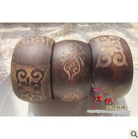 Unisex Wood Bangle 10pcs Carved wooden wood bangle bracelet patterns sub