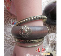 Unisex Wood Bangle 10pcs Multi-piece combination wood bracelet dress wooden metal bracelet