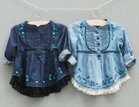 Wholesale Embroidery Girls Jackets Girls Long Sleeve Shirts Children Shirts Lace Girl Coats Denim Baby Outwear