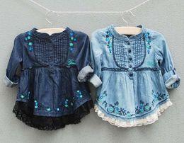 Wholesale Embroidery Girls Jackets Girls Long Sleeve Shirts Children Shirts Lace Girl Coats Denim Baby Outwear
