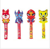 Wholesale 80cm medium cartoon balloon stick blow stick ballons refueling inflatable rods animal head