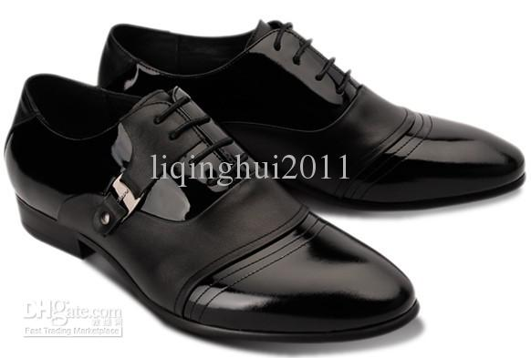 England Style Black Cowhide Dress Shoes Men's Casual Shoes Groom ...