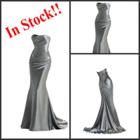 Wholesale Top Glamorous Elastic Satin Mermaid Bridesmaid Dresses Chic Beaded Party Dress For Wedding