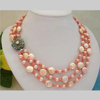 Nouvelle Arrivée Bijoux de Noël! Superbe 3Rows AA 5-14MM Rose Coin naturel collier de perles de corail
