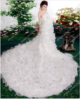 2015 Free Shipping Romantic Cathedral Train Wedding Dresses ...