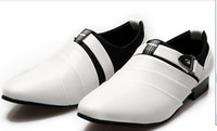 Wholesale New styling buckle white pu leather dress shoes men s casual shoes groom wedding shoes liqinghui2011