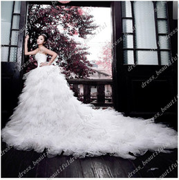 Wholesale No Risk Shopping Bridal Dream Wedding Dress Strapless Multilayer Tulle Cathedral Train Wedding Gown