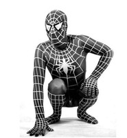Wholesale Halloween Full Body Spandex Spiderman Zentai Suit Fancy Cosplay Dress Costumes Black Free Ship V3635