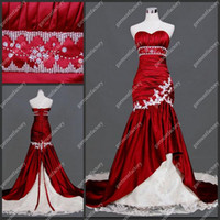 Wholesale Actural Image Sweetheart Court Train Sexy Red and White Mermaid Wedding Dress Bride Gown by Lace up