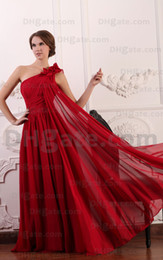 2015 Dark Red A Line Chiffon Evening Dresses Flowered One Shoulder Ruched Prom Dressess MZ070