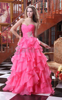 Hot Inexpensive Water Melon Sweetheart pleated Beaded bodice...