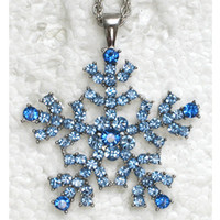 Wholesale Sapphire Crystal Rhinestone Snowflake Fashion Costume Necklace Flower Pendant jewelry gift F088 B
