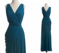 Wholesale China Plus Size Evening Gowns - Elegant Hunter Green V-neck Floor-Length Chiffon Women Long Bridesmaid Dresses Plus Size Evening Gowns China B967