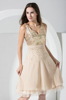 knee length cocktail dress - Actual Image New Sexy V Neck Seuqins Chiffon Champagne Knee Length Cocktail Dress Party Dresses