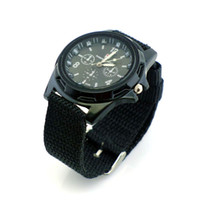Wholesale 2PCS New Black Cool Military Canvas Strap Sports Men Boy Braid Quartz Wrist Watch
