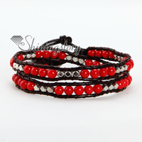 Wholesale Leather wrap turquoise agate hematite red coral silver nugget bead beaded friendship bracelets