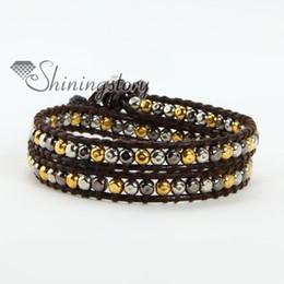 Ravishing two leather wrap three colors hematite bead beaded friendship bracelets adjustable