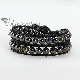 Volcanic stone and hematite beads double leather wrap beaded best friends bracelets jewellery