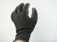 coated gloves - Black PU gloves nylon gloves PU coated gloves antistatic gloves