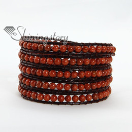 Wholesale Jade turquoise natural stone tigereye agate stone five layer leather wrap bead friendship bracelets