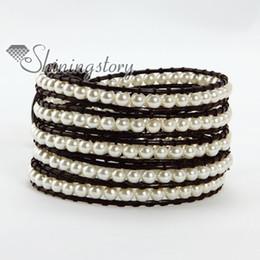 Five layer leather wrap pearl bead beaded best friends bracelets jewellery adjustable