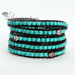 Five layer leather wrap turquoise bead beaded best friends bracelets jewelry