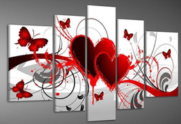 Wholesale 100 hand draw abstract modern oil painting on canvas Red hot love butterfly flowers