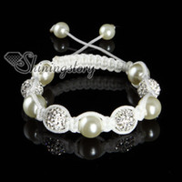 Wholesale shamballa bracelets rhinestone disco ball pave beads pearl adjustable macrame bracelets white nylon Shb054 cheap china fashion jewelry