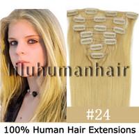 Wholesale 15 quot quot quot quot per set Remy Clip In Human Hair Extensions medium blonde