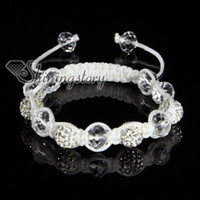 Wholesale shamballa bracelet Rhinestone glitter ball pave beads crystal adjustable bracelets white string cord