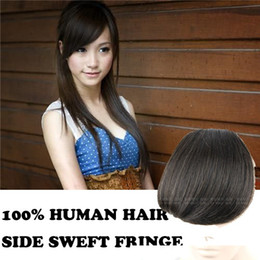 Wholesale human hair side swept fringe bangs clip in hair extensions natural black