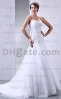 Wholesale 2012 Charming White A line Applique Wedding Dress Sweetheart Ruffles Chapel Train Bridal Gown C0466