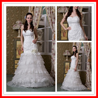 Wholesale 2011 New Fashion Gorgeous Sweetheart Off shoulder Sheath Layered Wedding Dress Bridal Gown WA