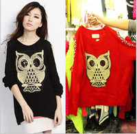 Women bead nail applique - women sweater autumn winter owl dew shoulder nail bead pullovers sexy sweaters black red XMAS
